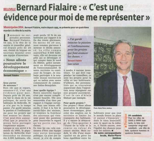 Bernard Fialaire annonce sa candidature aux élections municipales de Belleville