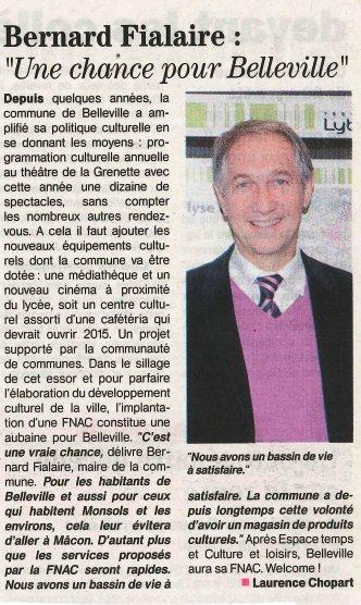 Commentaires de Bernard Fialaire, Maire de Belleville