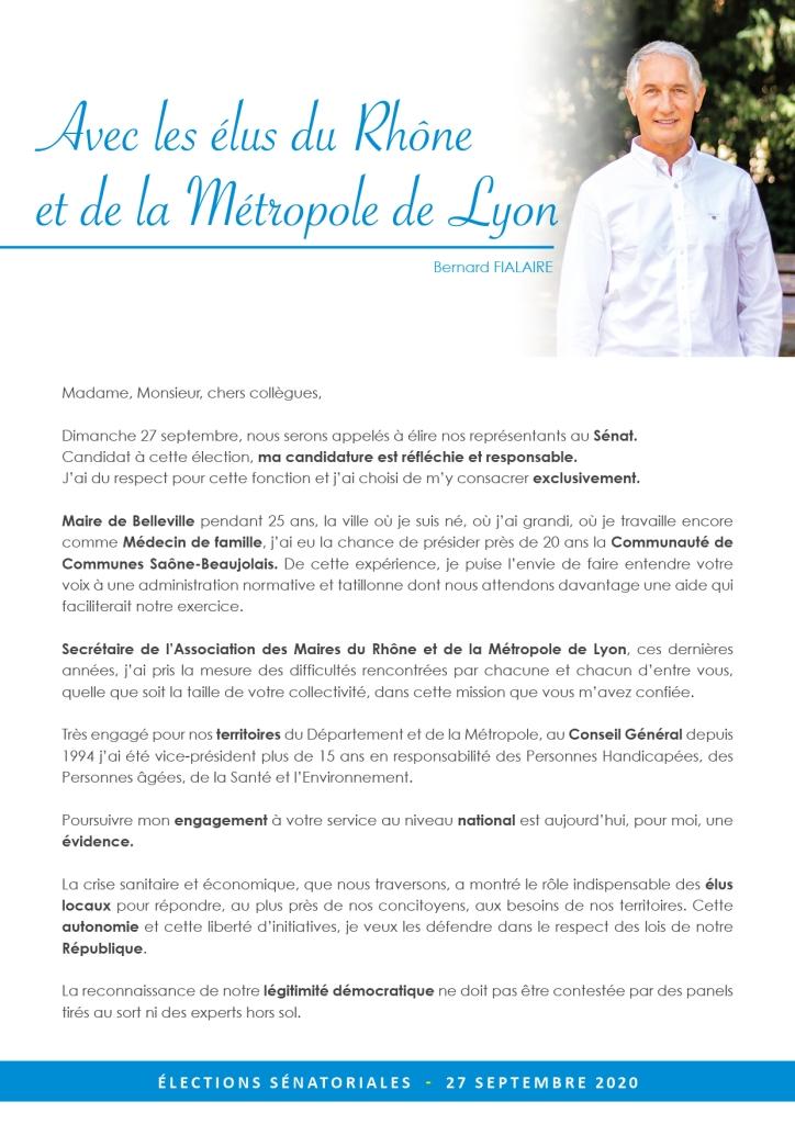 Sénatoriales 2020 : candidature de Bernard Fialaire